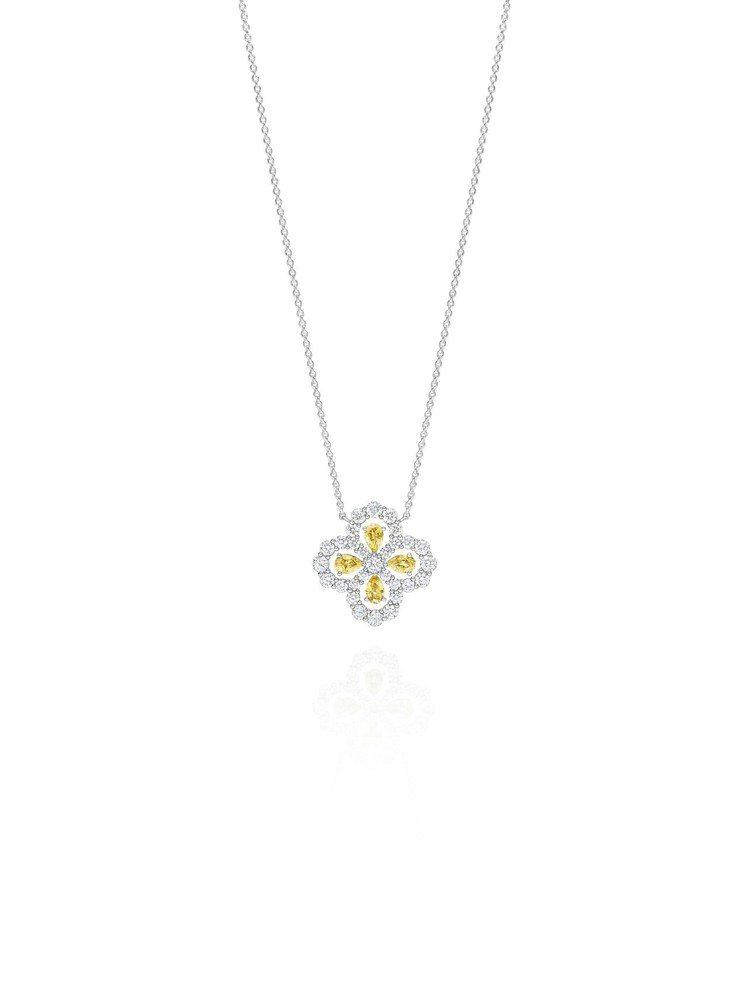 海瑞溫斯頓Diamond Loop珠寶系列實心花型黃色剛玉鑽石鍊墜,35萬萬元。...