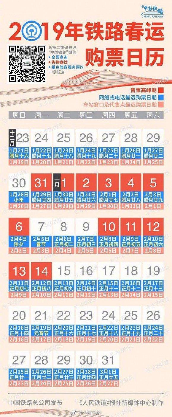 2019年大陸春運購票日曆