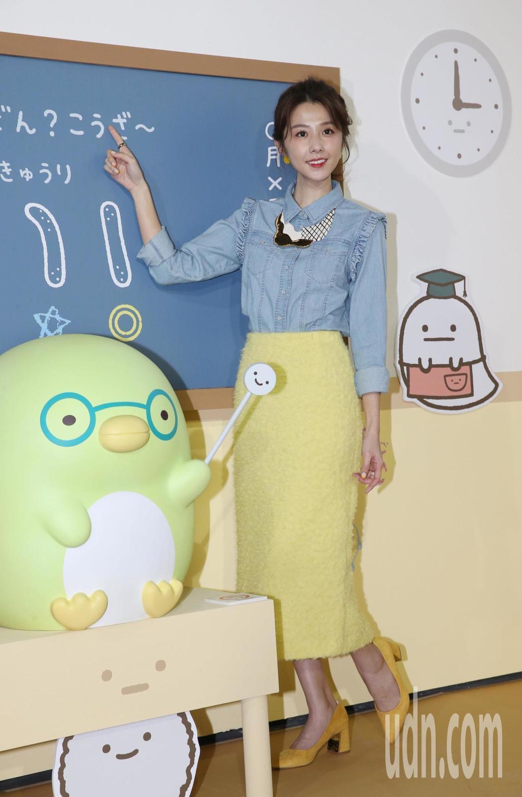 邵雨薇自嘲可愛風造型像炸蝦。記者林俊良/攝影