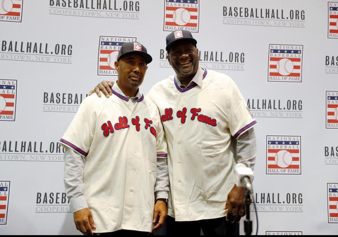 班斯(Harold Baines,左)和史密斯(Lee Smith,右)經資深委...