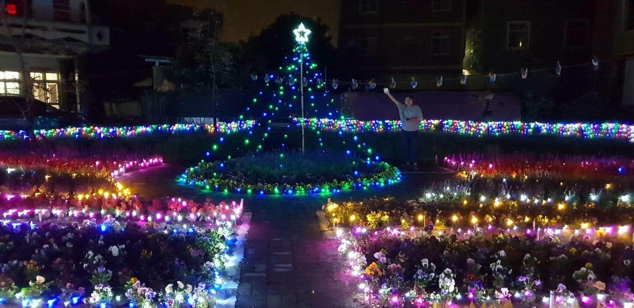 高雄永安區即起到明年農曆春節每晚點燈,入夜閃亮璀璨。記者王昭月/翻攝