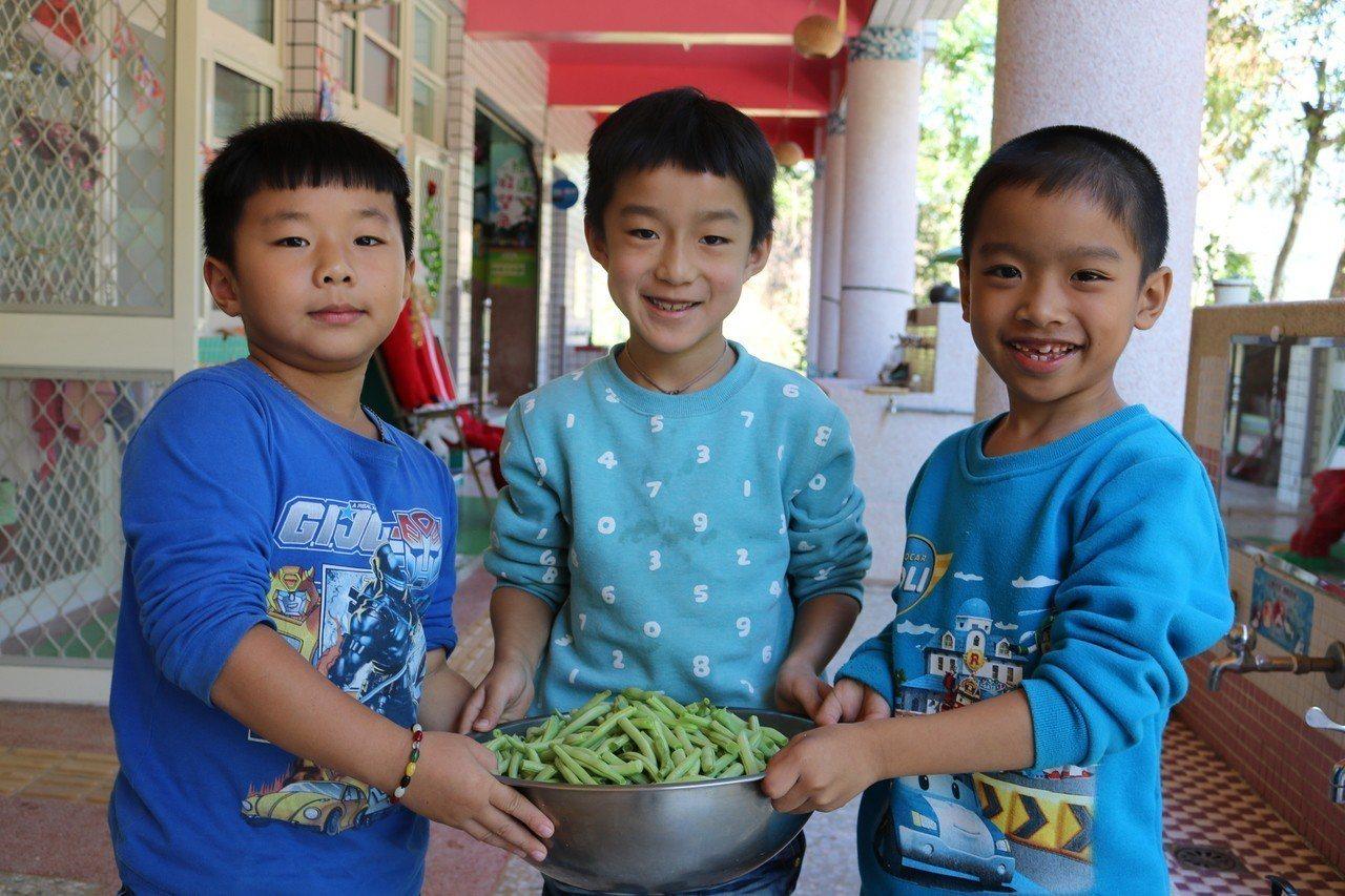 四季豆去絲大功告成。圖/仁和國小提供