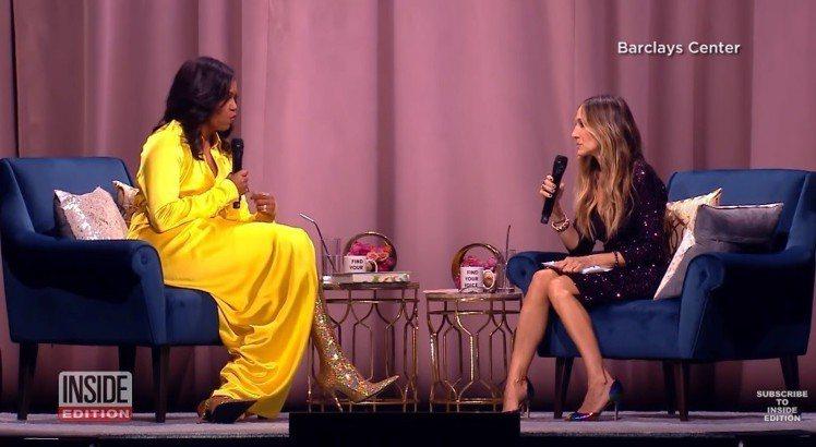 蜜雪兒歐巴馬以整身的Balenciaga出席新書宣傳,價台幣12萬多的長靴馬上成...