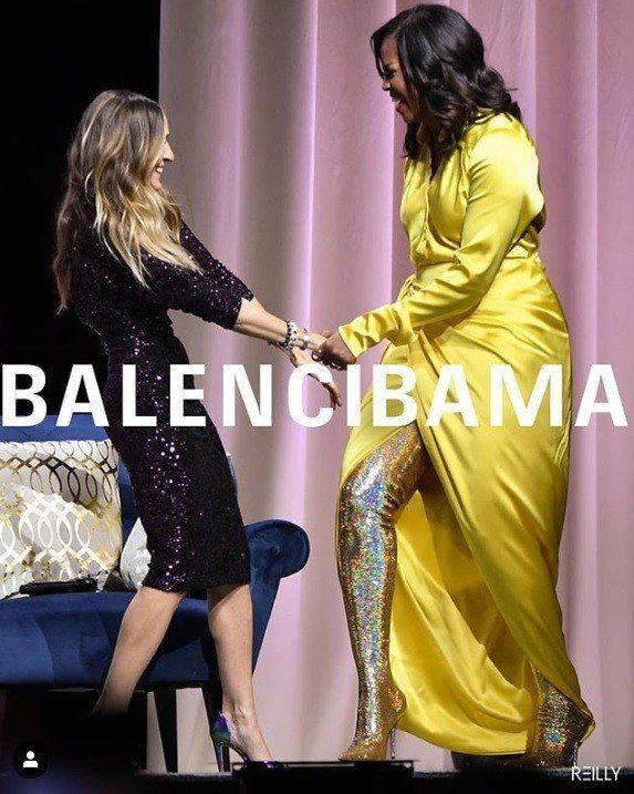 蜜雪兒歐巴馬的這身造型被網站REILLY改成Balenciaga廣告。圖/摘自I...