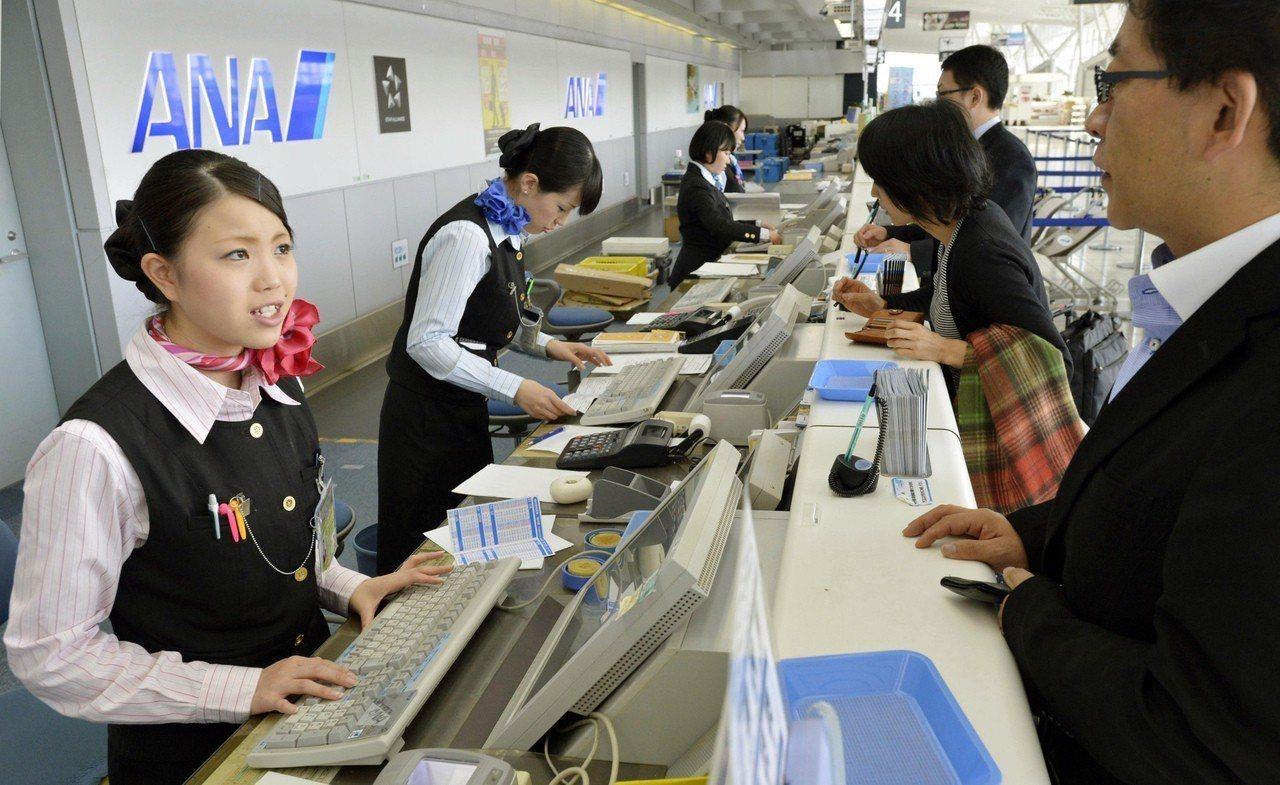 日本仙台機場的航空公司櫃台。美聯社