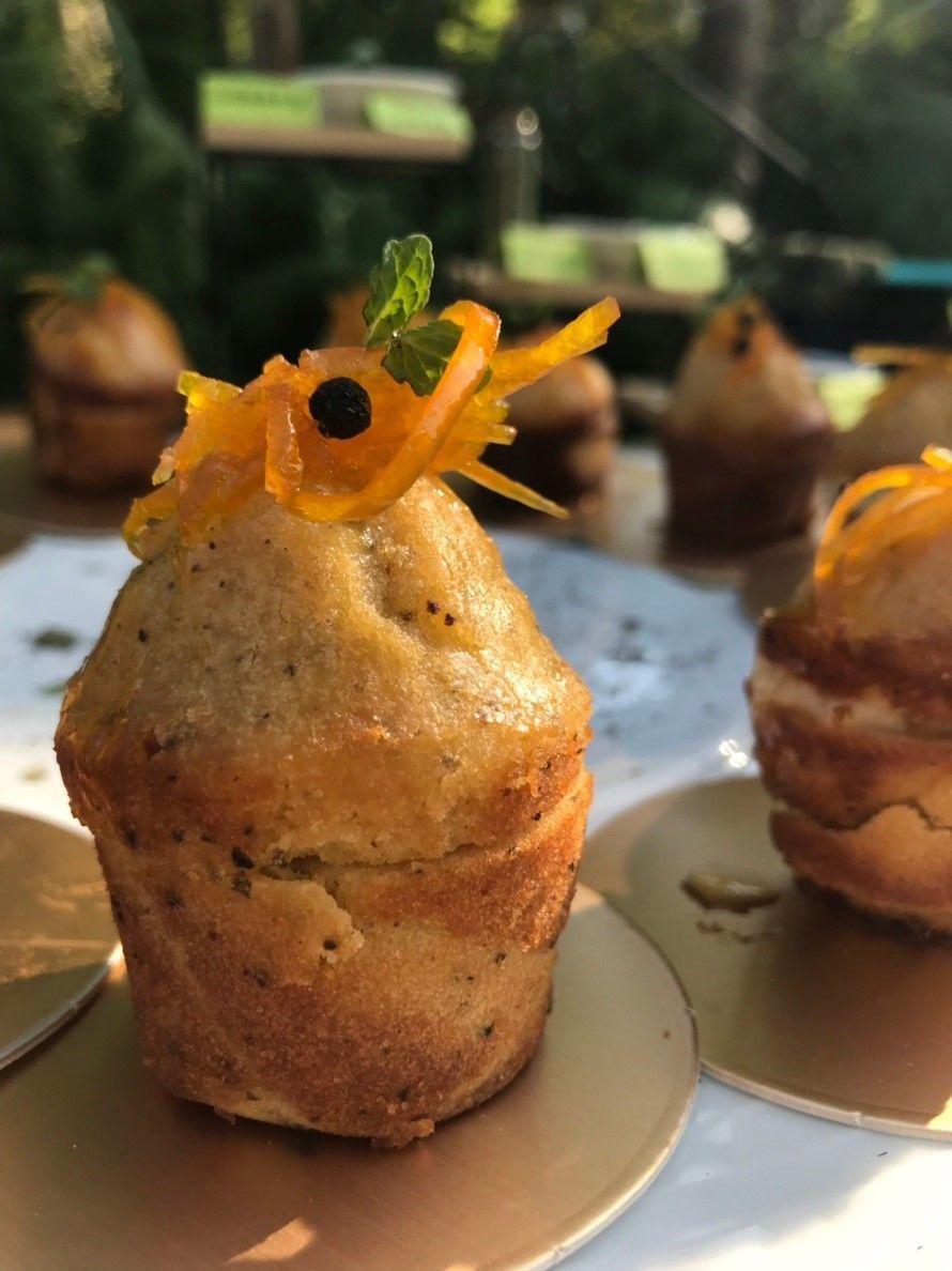馬告香料製作的柳橙阿里巴巴小蛋糕。圖/高雄餐旅大學餐飲廚藝科副教授李柏宏提供