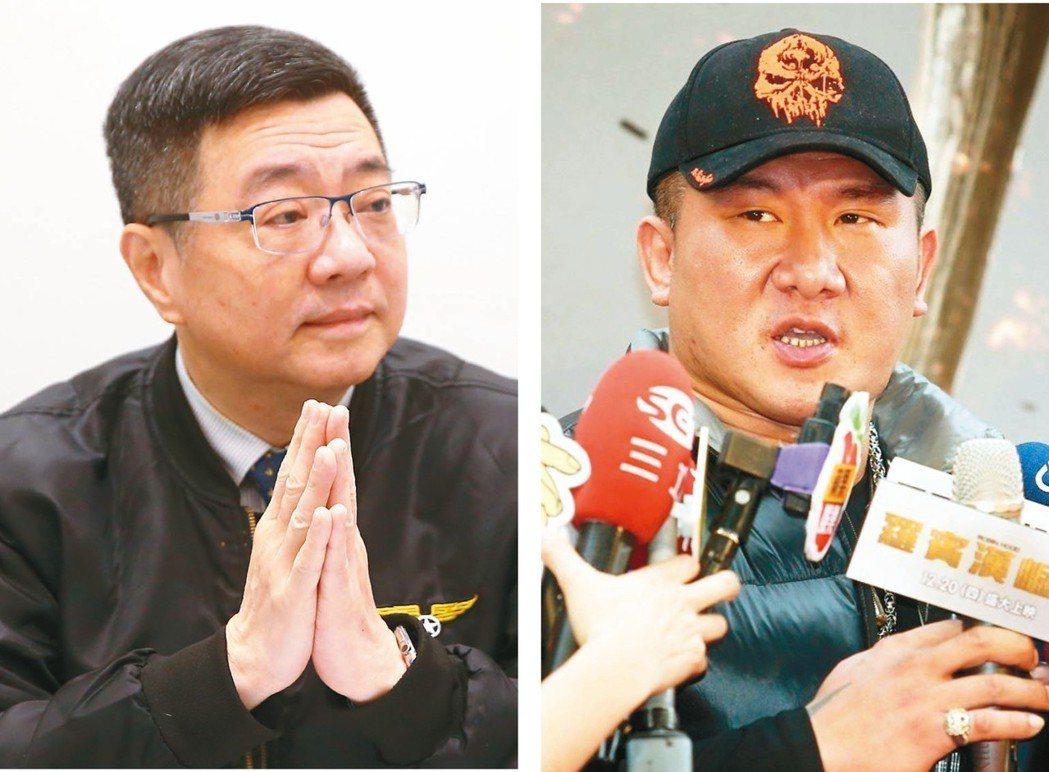 民進黨主席候選人、行政院秘書長卓榮泰(右)也表態想和館長(右) 開直播。 圖/聯...