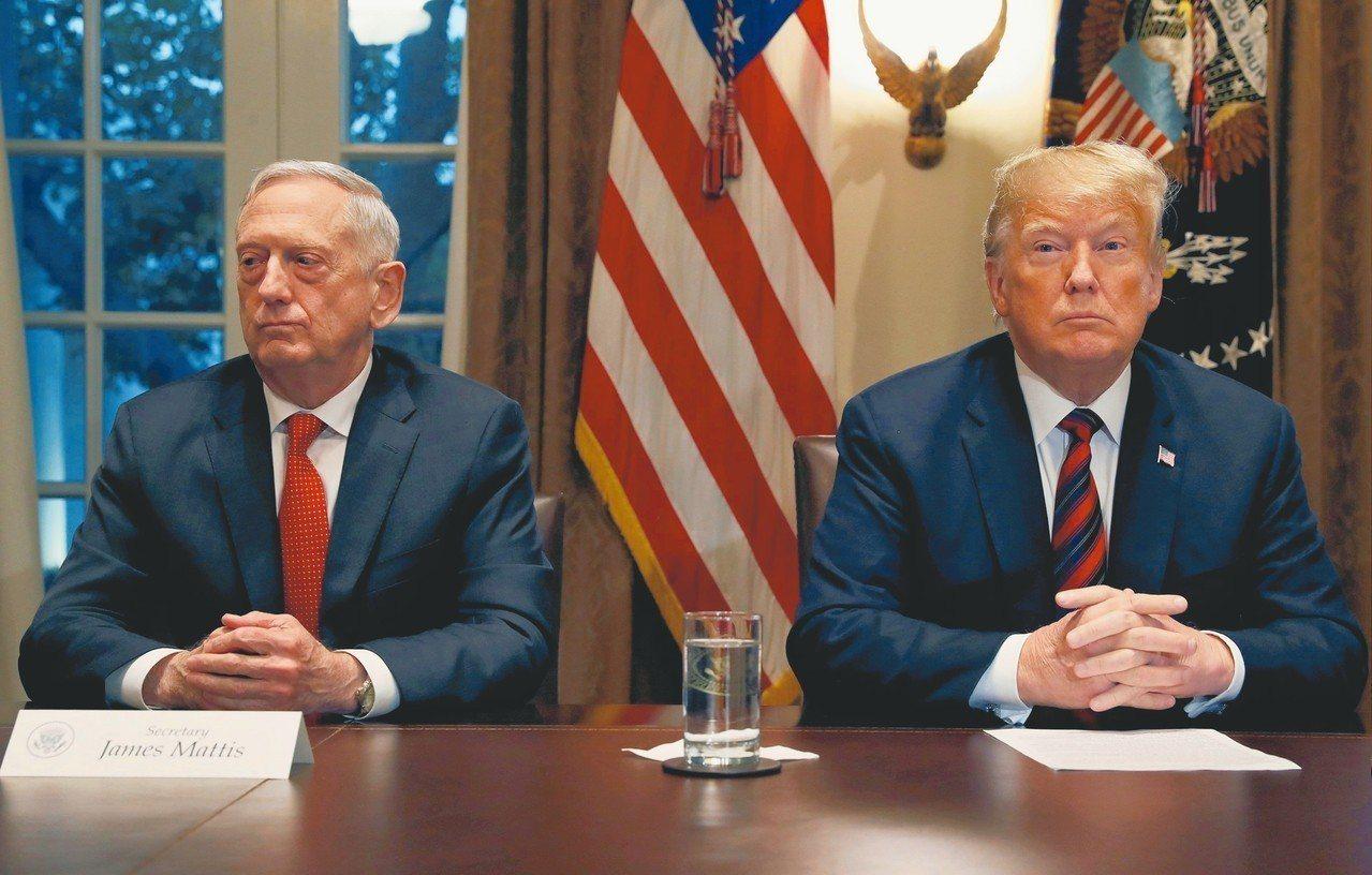 美國總統川普(圖右)要原定2月底離職的國防部長馬提斯(圖左)立刻走人,宣布代理國...