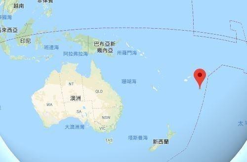 標註點為東加王國。圖截自Google Map
