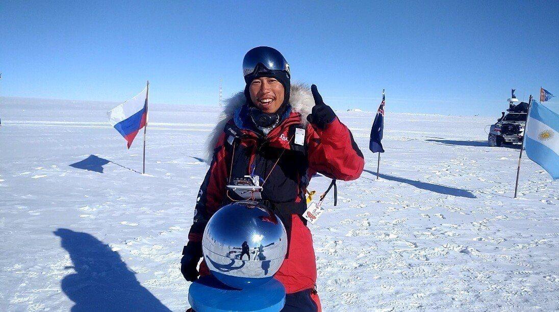 陳彥博成功抵達南極點。 橘子關懷基金會提供