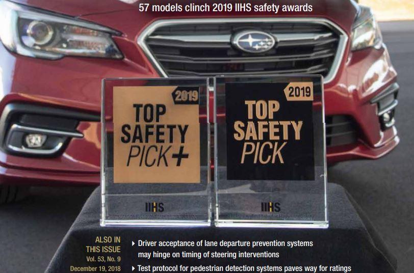 2019 IIHS TSP+與TSP共有57款車輛入圍。 摘自IIHS