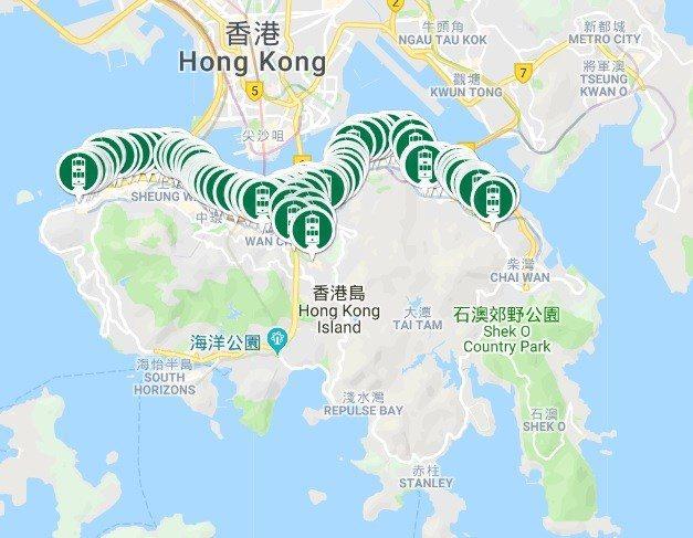 叮叮車路線圖。 圖/hktramways.com