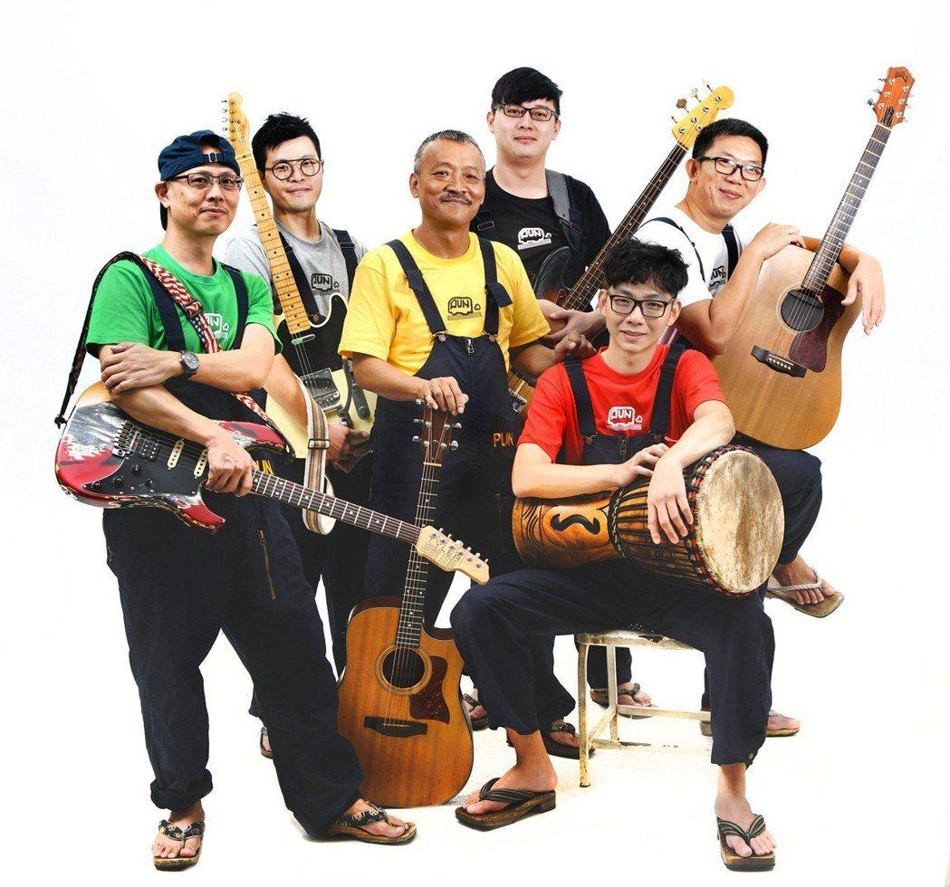 謝銘祐(左三)領軍的「麵包車樂團」發片。圖/三川娛樂提供