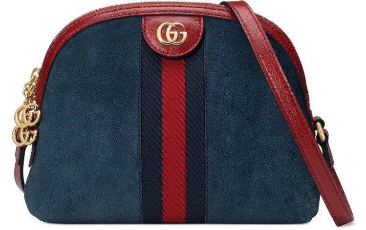 Ophidia系列藍色麂皮貝殼包,57,700元。圖/Gucci提供