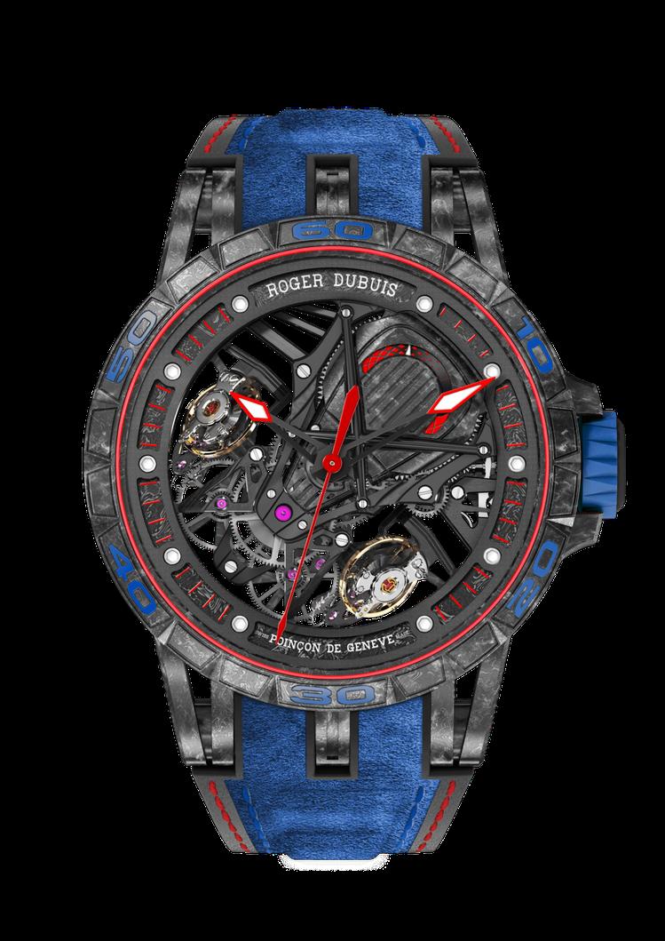 王者系列Aventador S鏤空雙擒縱跳秒表,複層碳纖維表殼,搭配鈦金屬表圈,...