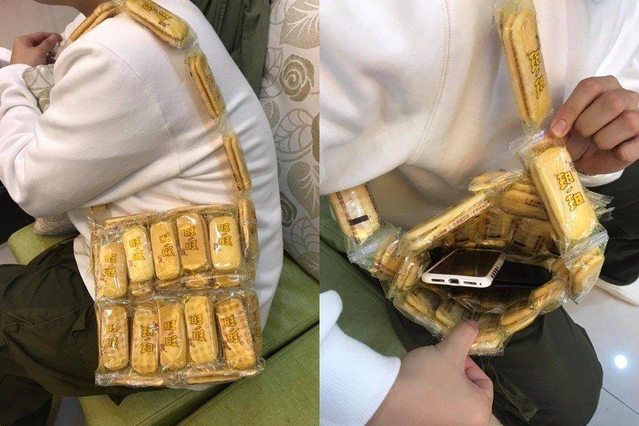網友分享交換禮物抽到旺旺仙貝做成的包包,讓不少人笑瘋 圖片來源/爆廢公社
