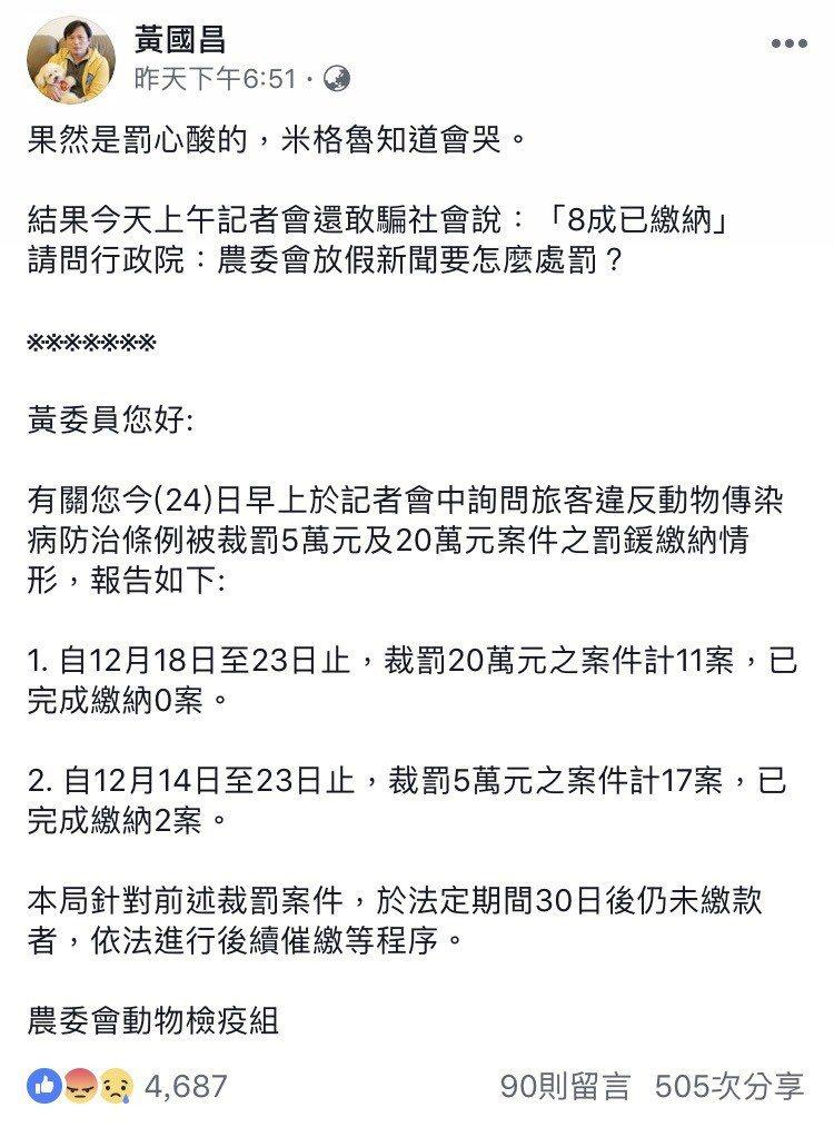 立委黃國昌連日針對外國人罰鍰未繳在臉書發文,昨在臉書發文指農委會欺騙大眾,從12...