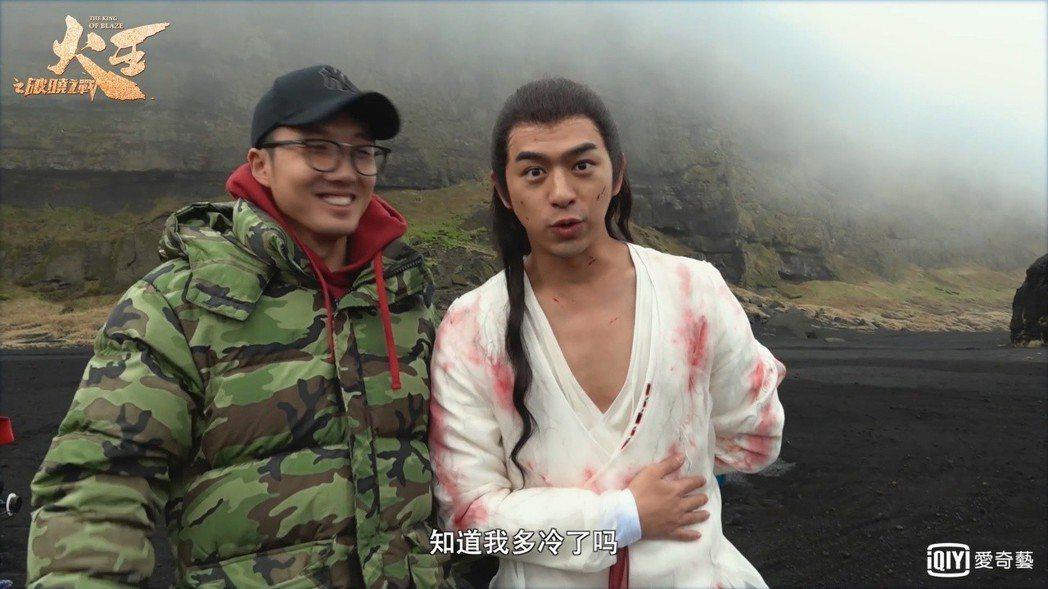 陳柏霖(右)在低溫環境中穿著單薄上戲。圖/愛奇藝台灣站提供
