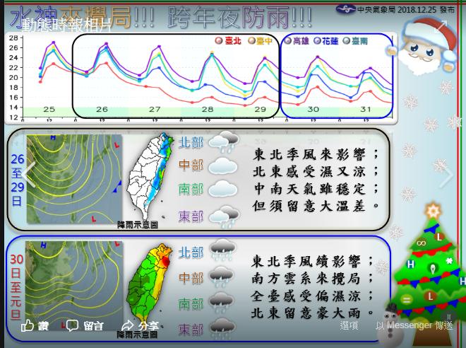 水神來攪局,跨年夜全台有雨。圖╱氣象局提供