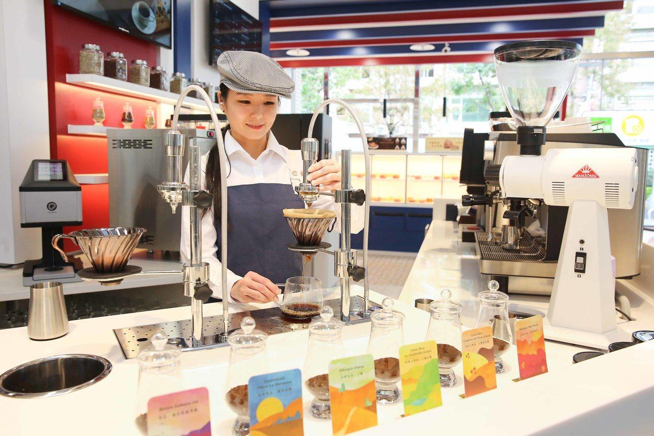 精品手沖咖啡選項高達6種,使用可模擬咖啡大師沖煮模式的Modbar擬真咖啡大師手...