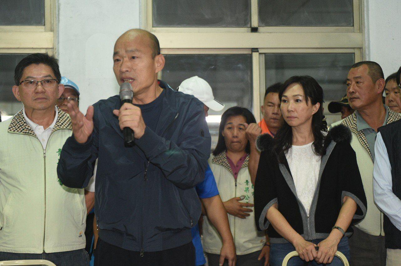 韓國瑜一身輕裝到高雄。記者謝梅芬/攝影