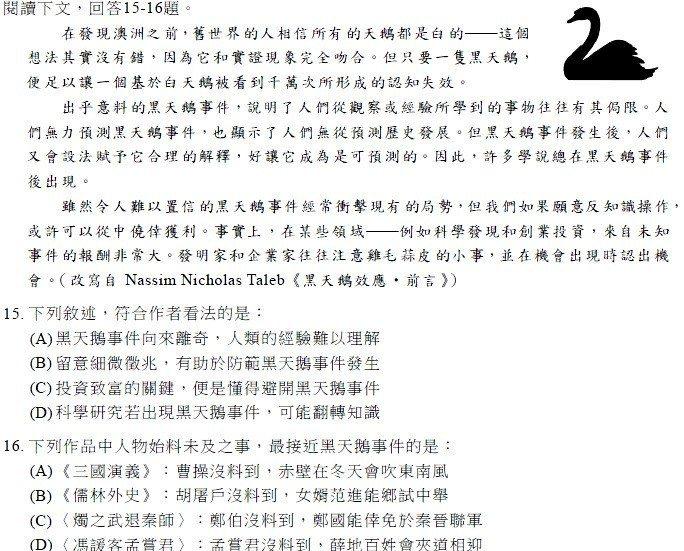 今年學測國文有一題組,改寫有關「黑天鵝效應」的國外文章,並用以詮釋三國演義等文言...