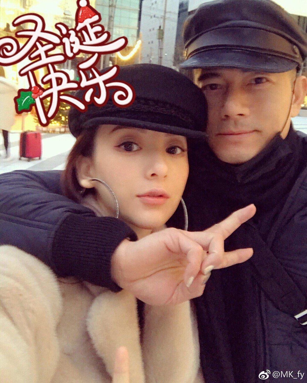 郭富城(右)與老婆方媛(左)難得公開合照。 圖/擷自方媛微博