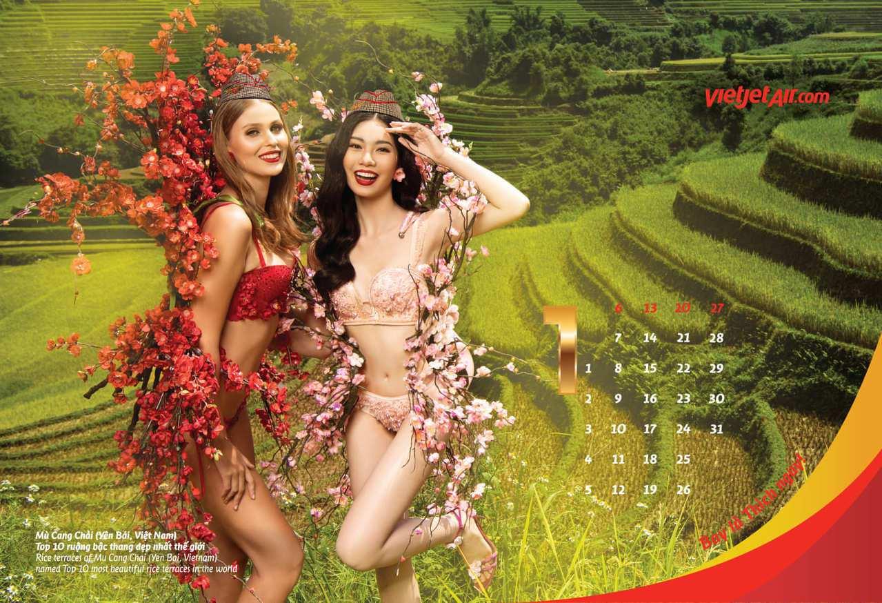 火辣登場。越捷航空推出2019年全新「比基尼」月曆,邀請12位穿著火辣比基尼的越...