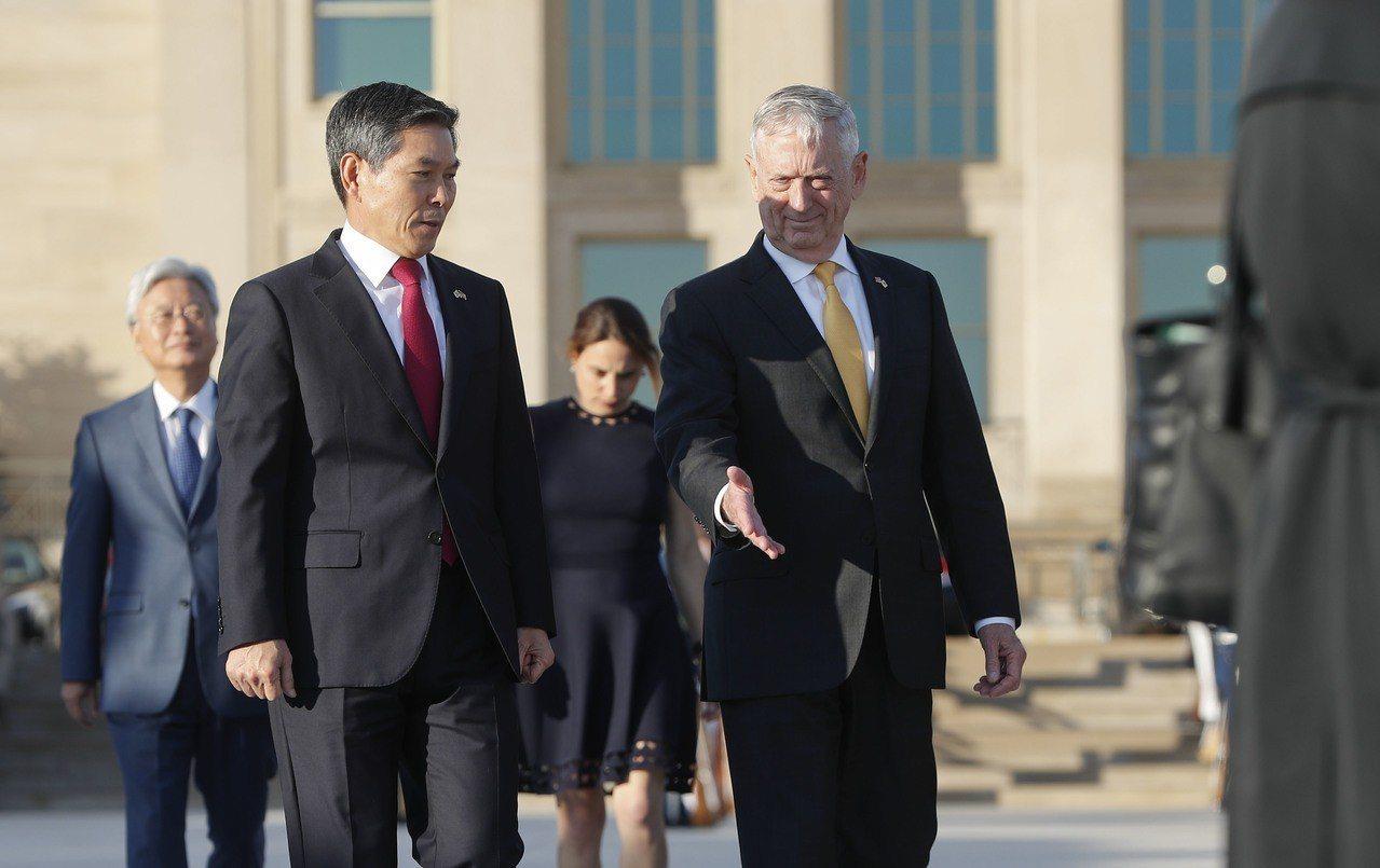 美國國防部長馬提斯(右)今年10月31日與南韓國防部長鄭景斗(左)在華府開會。美...