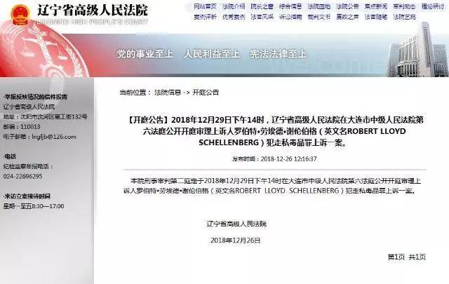 遼寧法院發布消息,29日將審判一走私毒品的加拿大人。圖/取自環時網