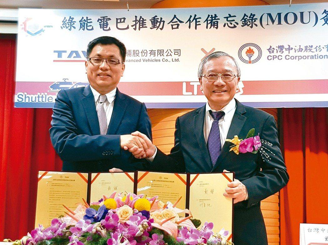 中油董事長戴謙(右)與唐榮董事長何義純簽署合作備忘錄,攜手開發國產的電動巴士。 ...