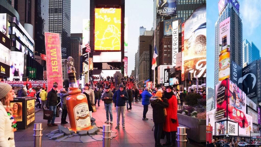 OMAR 威士忌在時代廣場,結合大樓屏幕互動,讓民眾與酒瓶合照即時上傳打卡,並與...
