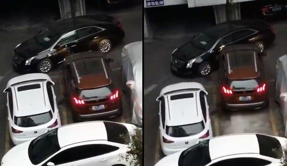 寶獅車主因無路可走,索性直接將停在車頭前的凱迪拉克撞開。 圖擷自梨視頻