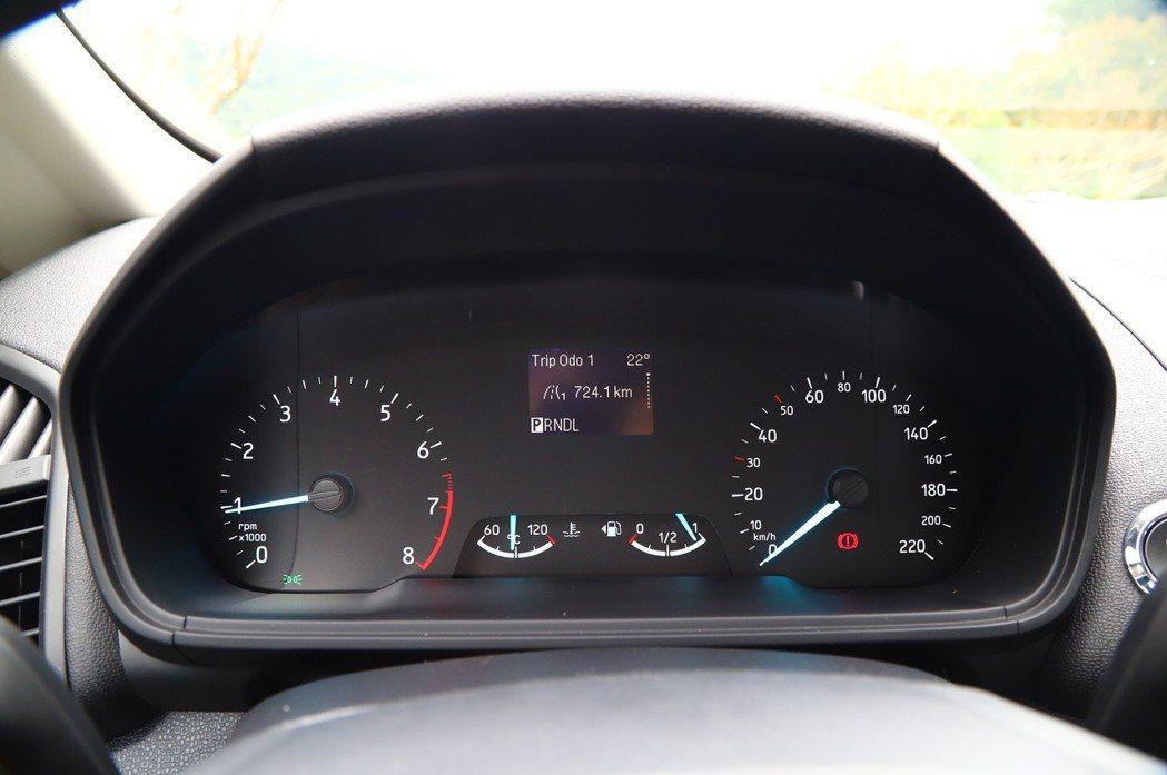 EcoSport儀表板就顯得稍微陽春了一點,僅有小型螢幕顯示車輛資訊。 記者張振...