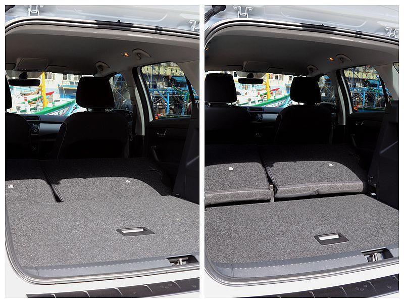 行李箱下隔板還能依據物品高度進行兩段調整。 記者張振群/攝影
