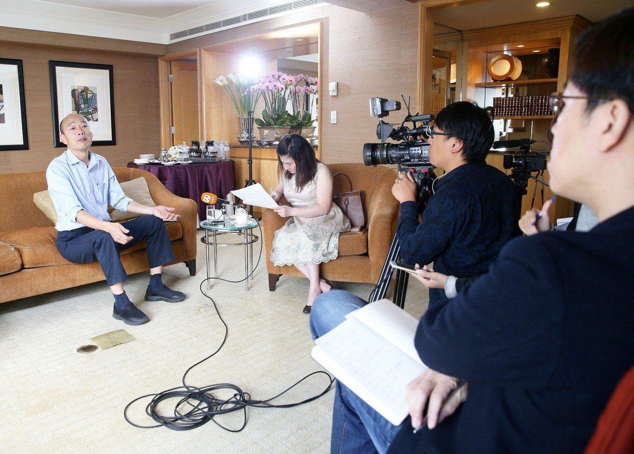 新任高雄市長韓國瑜接受聯合報專訪。圖/本報資料照片