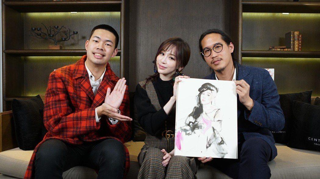 王心凌(中)與插畫家Gary Tu(右)相談甚歡,讓陳大天吃味。圖/MyMusi