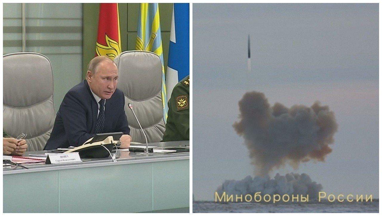 俄羅斯總統普亭26日在莫斯科的國防部控制中心親自遠端監督新型高超音速飛彈系統「先...