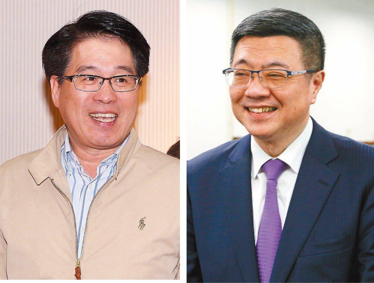 面對是否綠白合作,民進黨主席參選人游盈隆(左)和卓榮泰(右)態度都有些保留。 圖...