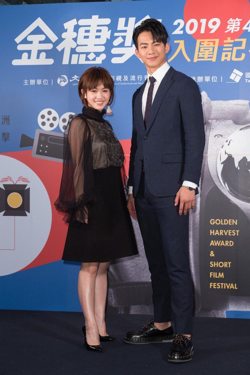 吳念軒(左)與嚴正嵐(右)擔任金穗獎大使。記者陳立凱/攝影