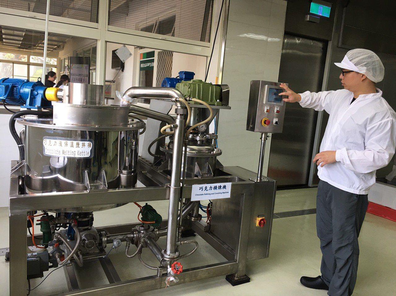 屏東科技大學設置模擬食品GMP的巧克力生產線,在食品科學系教授許祥純帶領下,碩士...
