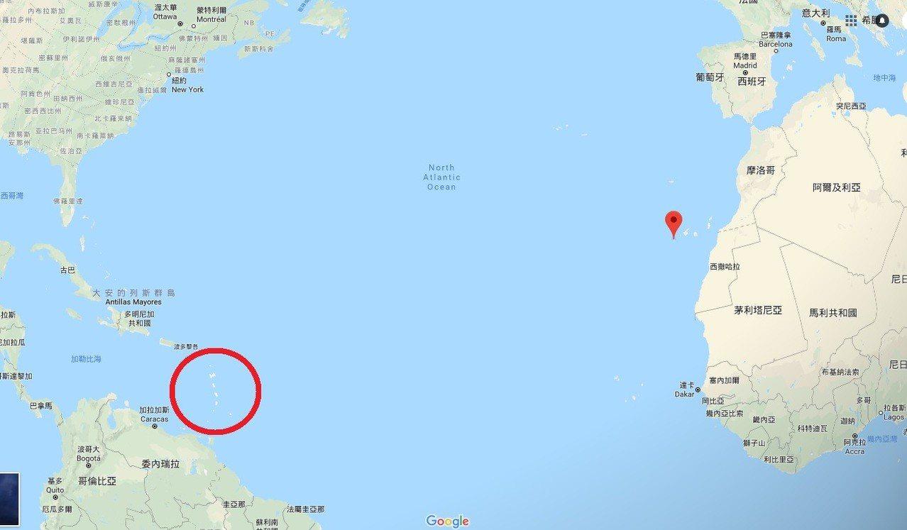 薩萬從西班牙的小島出發,隨著洋流漂浮,預計在加勒比海內的島嶼登陸(紅色圈圈範圍)...