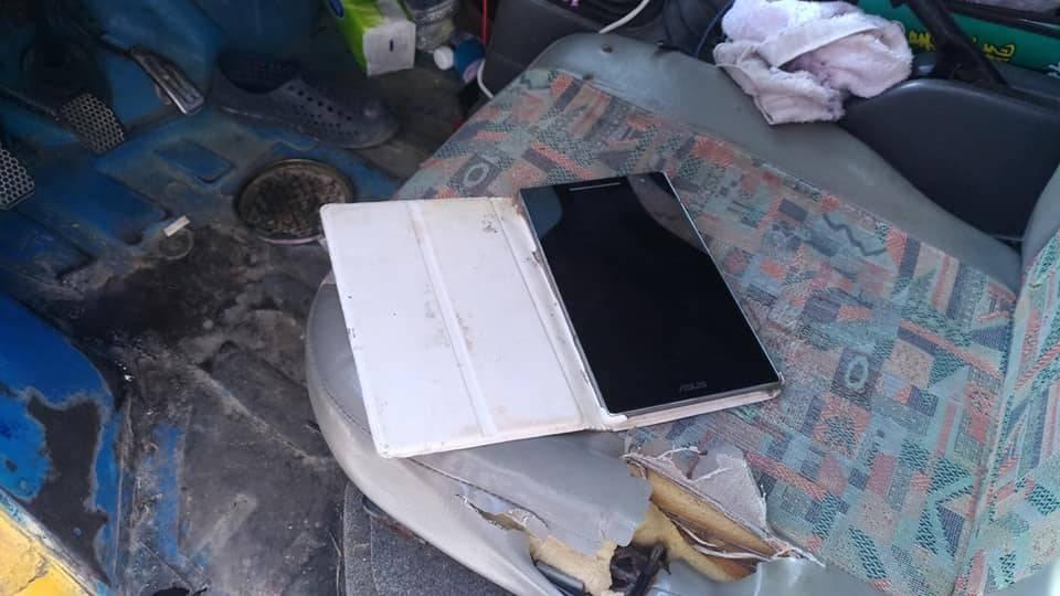 林姓竊嫌放在車上的平板電腦,還在播放佛經。記者吳淑玲/翻攝