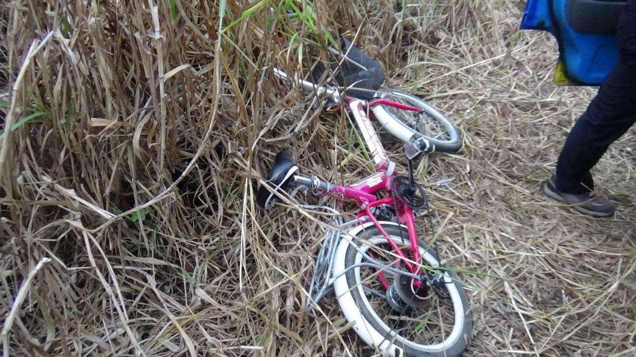 林姓竊嫌騎乘的腳踏車棄置路邊。記者吳淑玲/翻攝