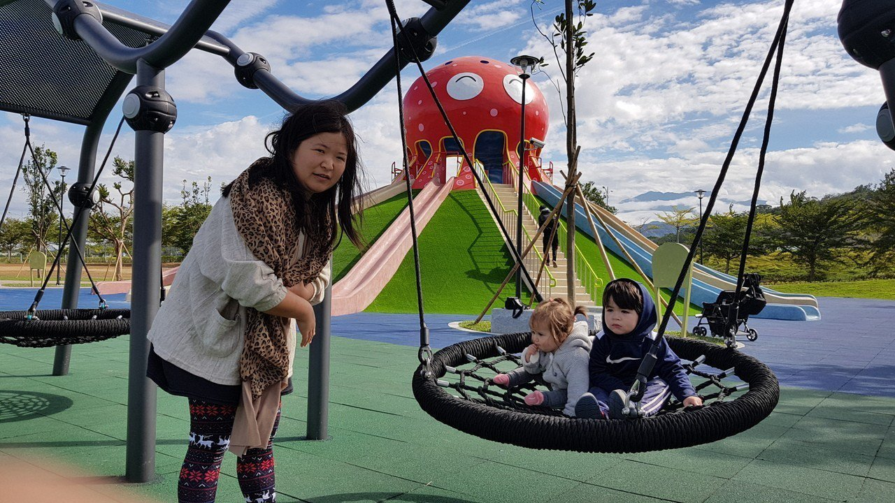 貓裏喵親子公園明起開放體驗,已有不少親子搶先體驗。記者黃瑞典/攝影