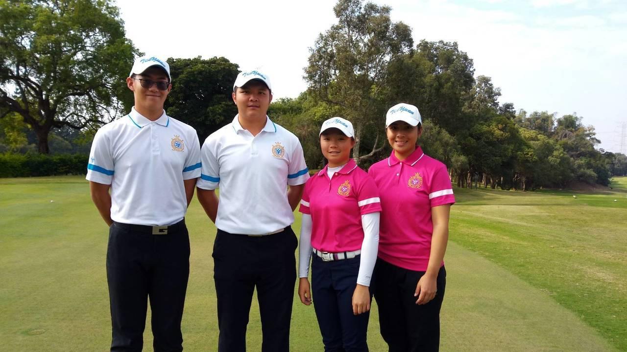 桃園球場楊浚頡(左)、黃亭瑄(右二)、黃冠勳(左二)和邱譓芠包辦107年 高爾夫...