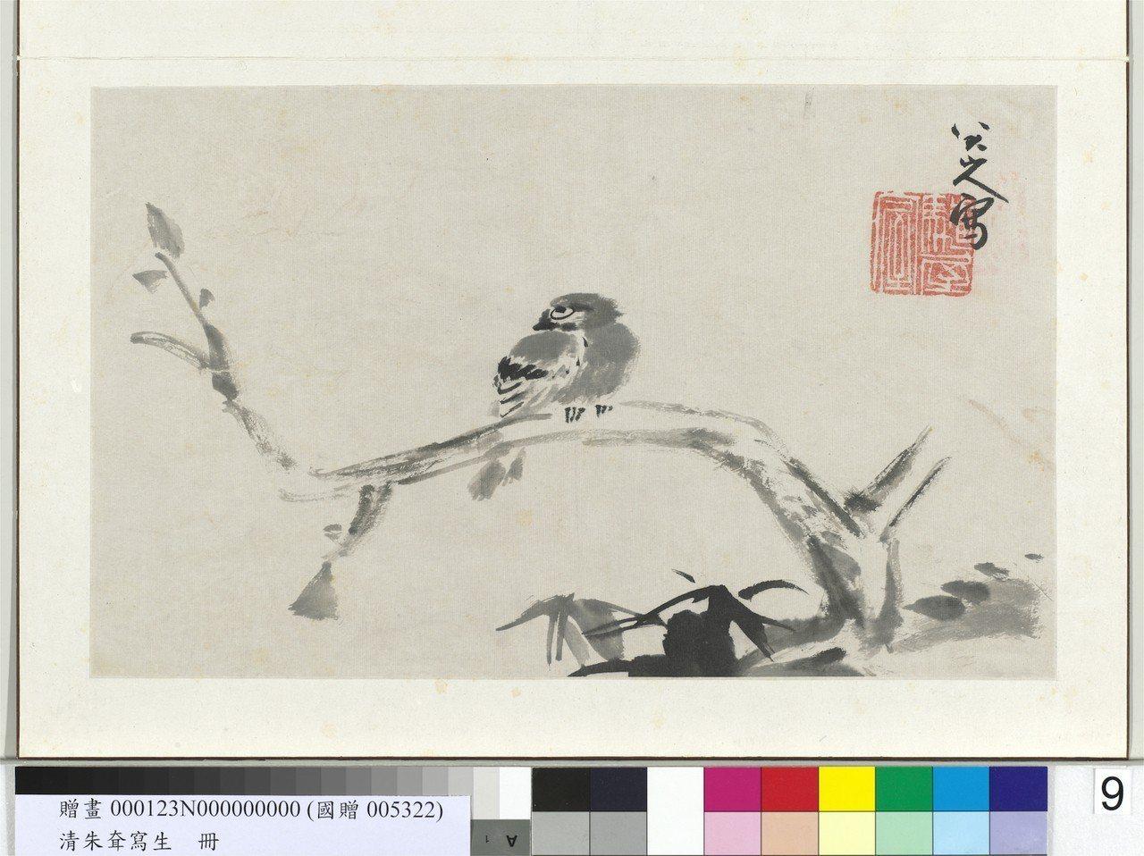 清朱耷的「枯木寒雀」。圖/故宮提供