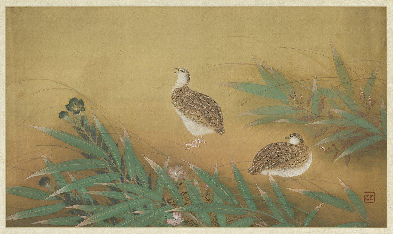 林玉山的「雙鶉圖」,是「來禽圖—翎毛與花果的和諧奏鳴」展中唯一一件民國畫作。圖/...