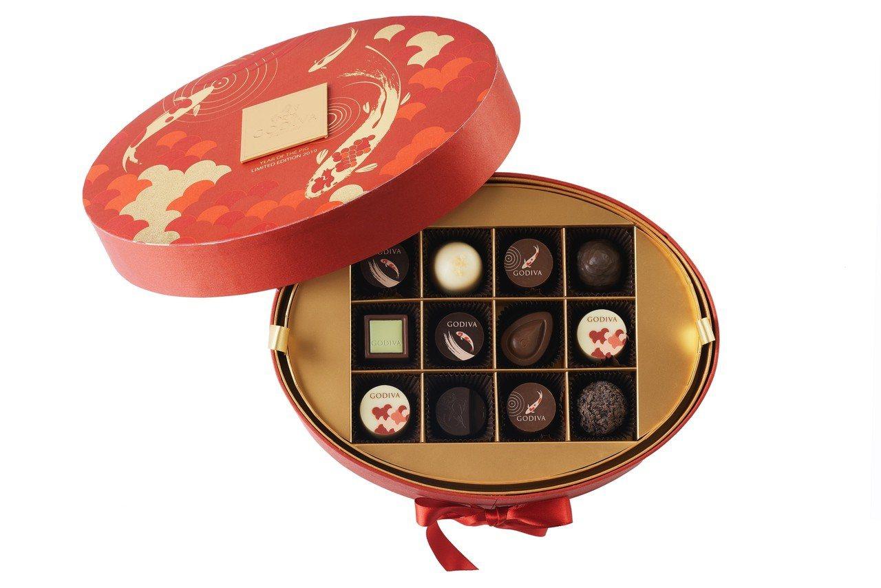 新年巧克力珠寶禮盒36顆裝,售價5,250元。圖/GODIVA提供