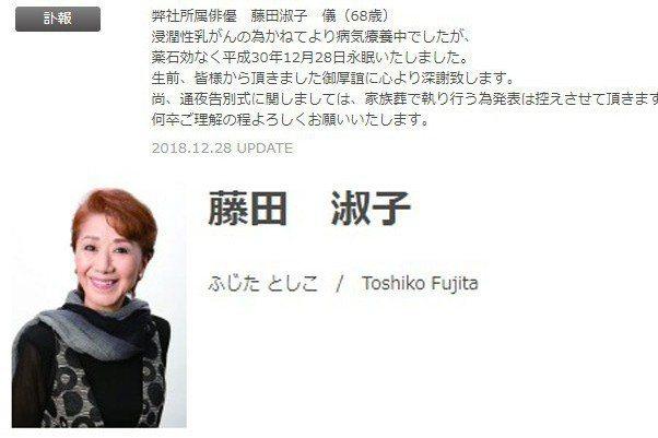 藤田淑子。圖/擷自官網
